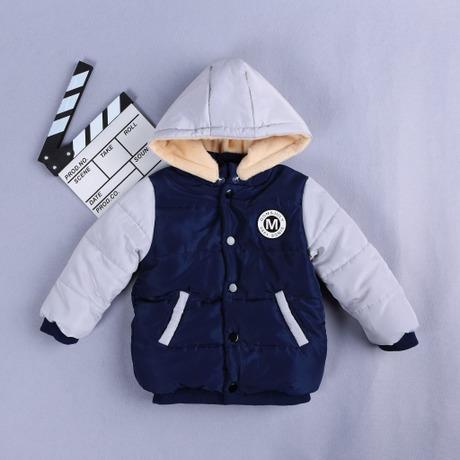 2018新款冬季儿童双色毛里拼接带帽棉服