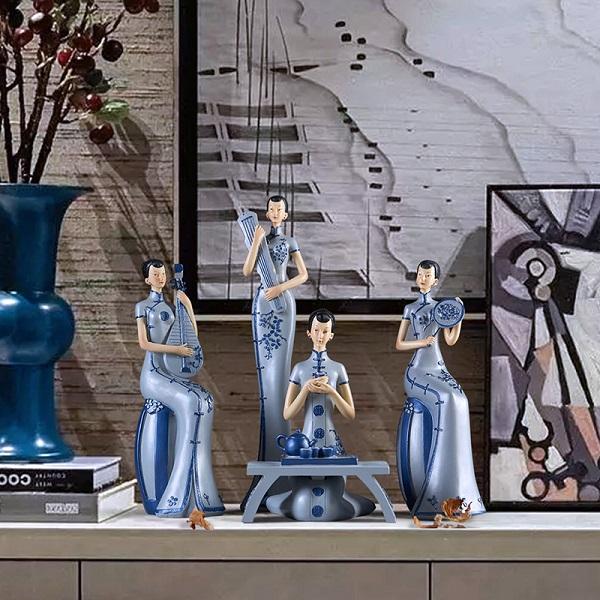 新中式中国风青花仕女家居摆件装饰品