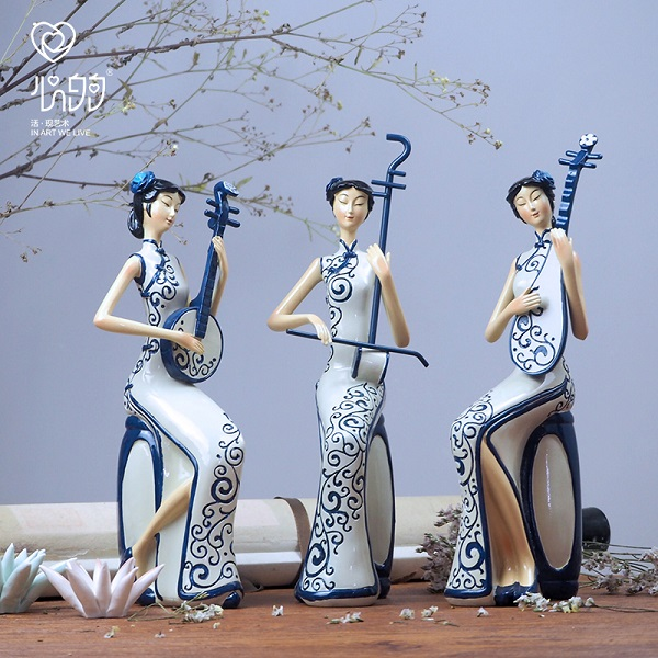 优艺诗新中式中国风古典旗袍仕女人物家居工艺品软装摆件