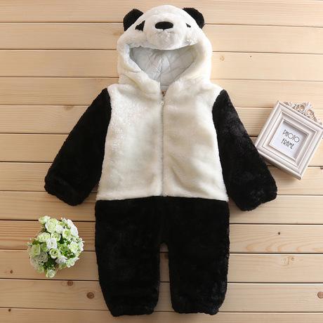 2018春秋冬加厚婴儿连体棉熊猫哈衣爬服