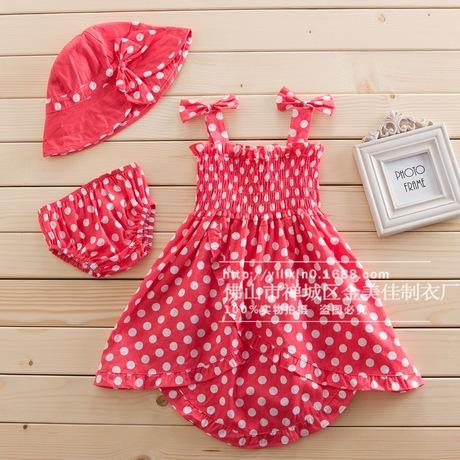 夏季爆款可爱西瓜红三件套童装裙套装