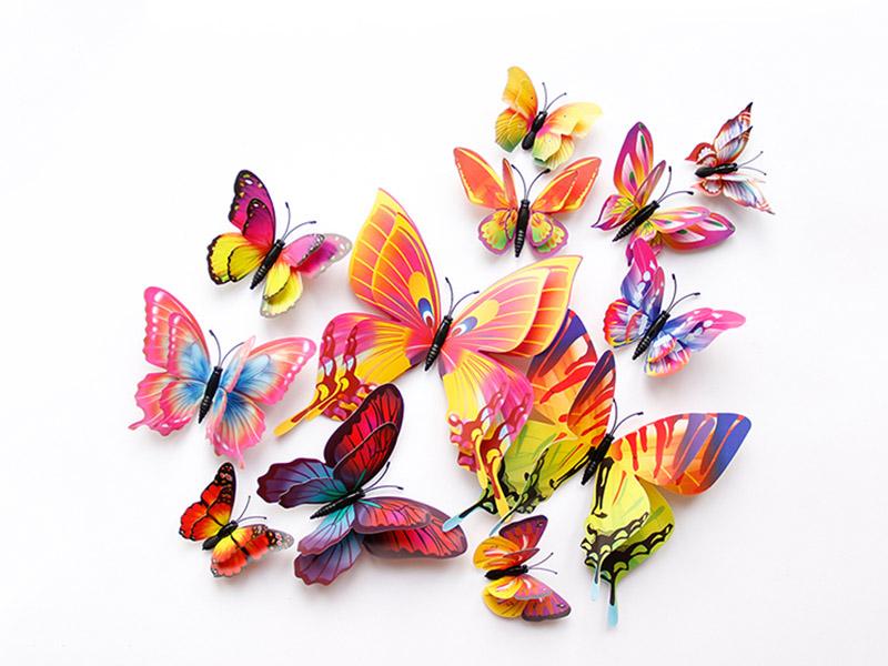 双层蝴蝶套装10色可选磁性冰箱贴家居装饰墙贴仿真蝴蝶工艺品