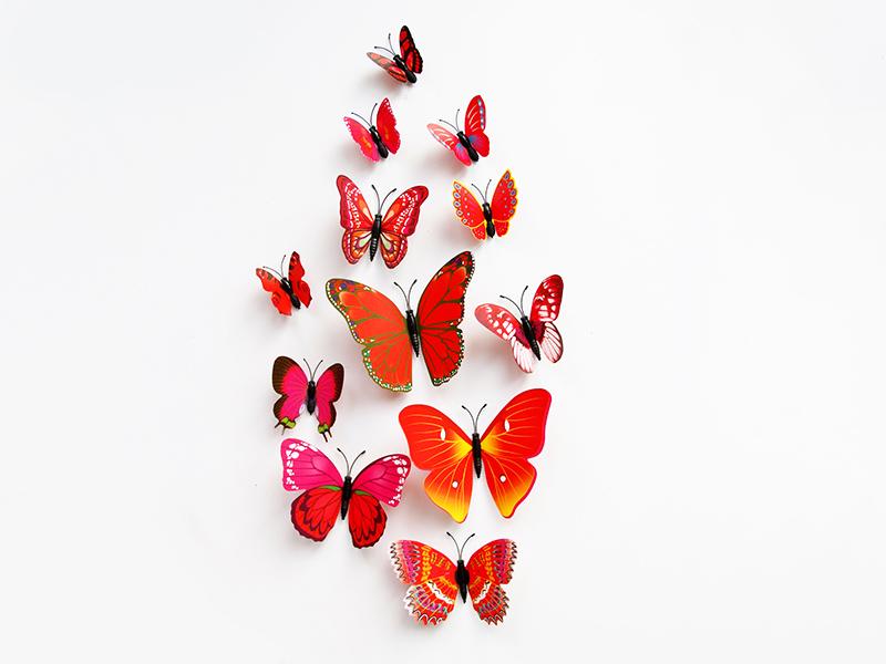 五色系单层套装pvc立体蝴蝶墙贴家居客厅儿童房墙面装饰