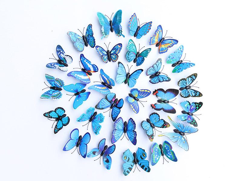 色系6公分仿真蝴蝶pvc塑料磁铁蝴蝶花园装饰服装辅料