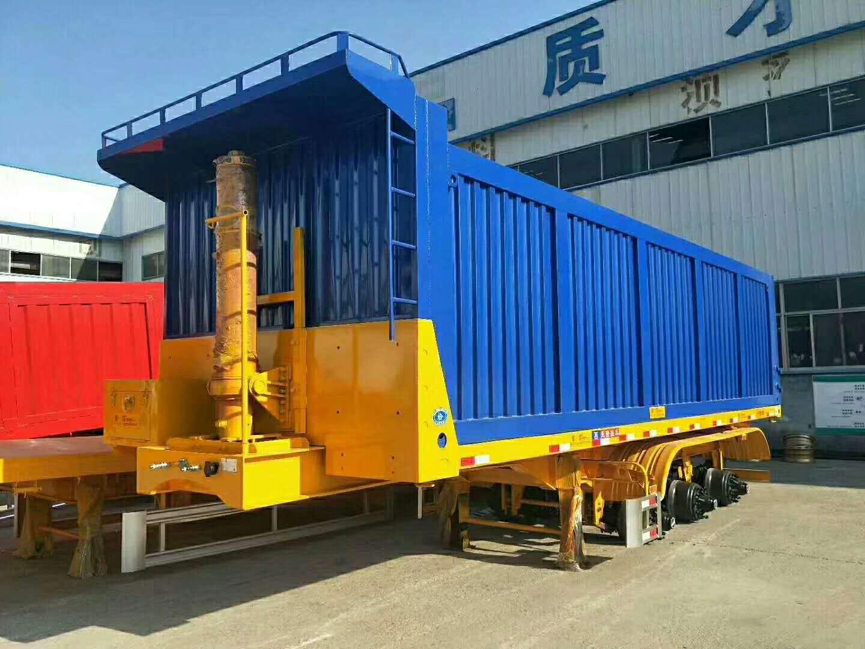 贵州遵义11米轻型平板后翻自卸半挂车,自卸半挂车销售