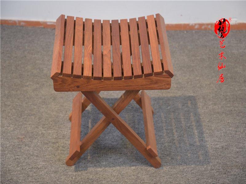 红木花梨木马扎椅红木家具独板小凳子实木小椅子可折叠坚固耐用