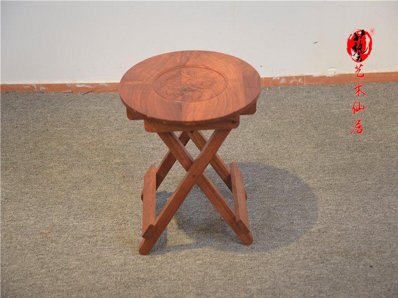 红木花梨木马扎椅红木家具独板小凳子实木小椅子可折叠坚固