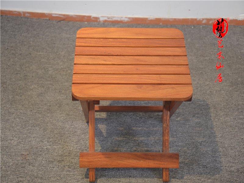 红木花梨木马扎椅红木家具独板小凳子实木小椅子可折叠
