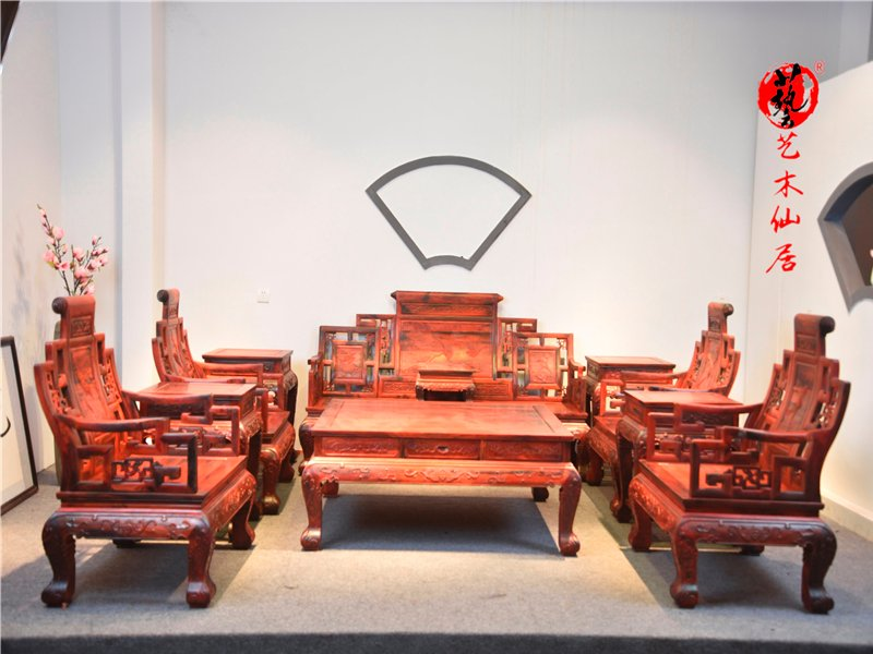 红木大红酸枝卷书弯背沙发十一件套大红酸枝客厅沙发组合交趾黄檀