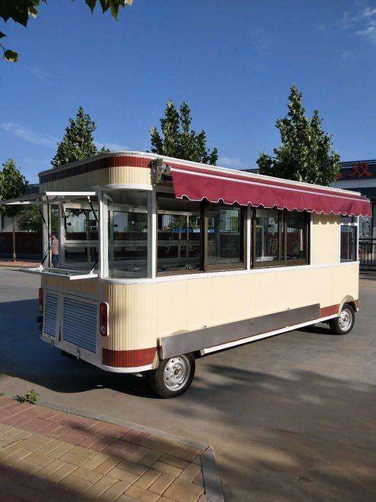 直销四轮移动街景餐车 供应质量好的卤肉卷餐车