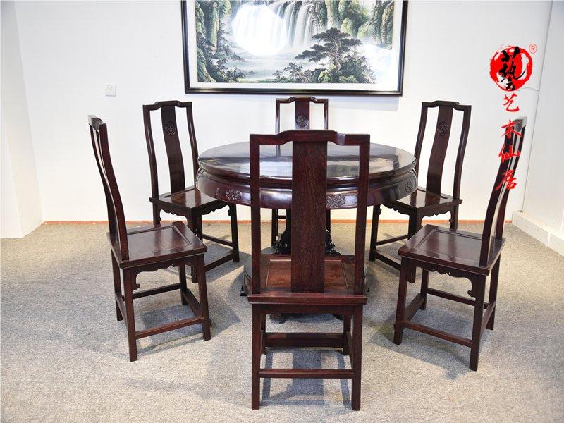 赞比亚血檀圆形餐桌七件套红木家具饭桌血檀餐桌非洲小叶紫檀