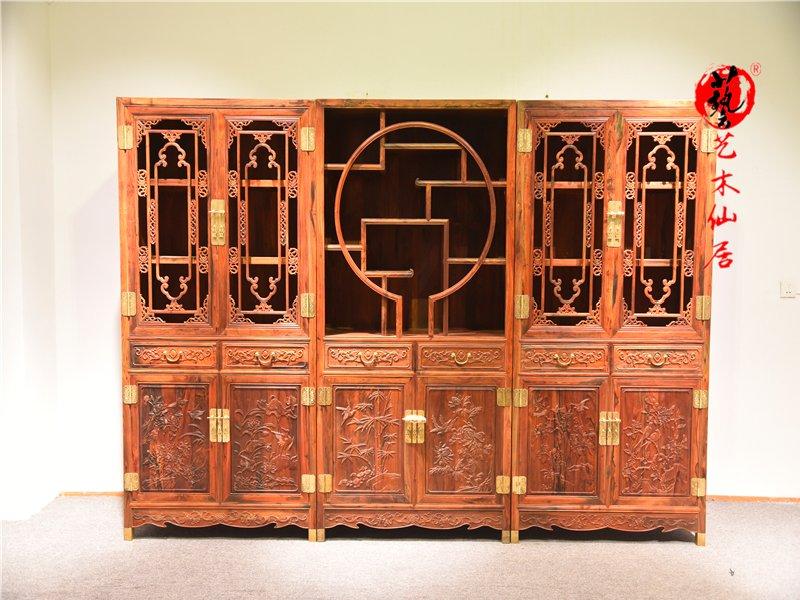 大红酸枝书柜三组合书房家具红酸枝书架柜交趾黄檀红木家具