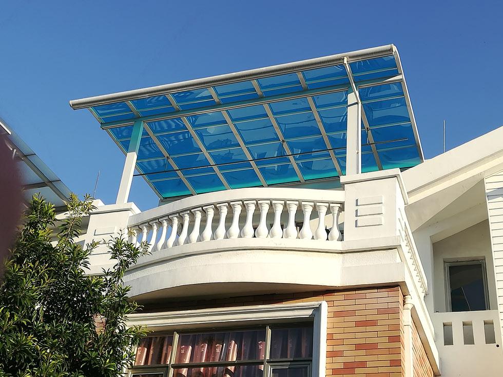 遮阳棚搭建建造找广州瀚创公司,转角雨棚