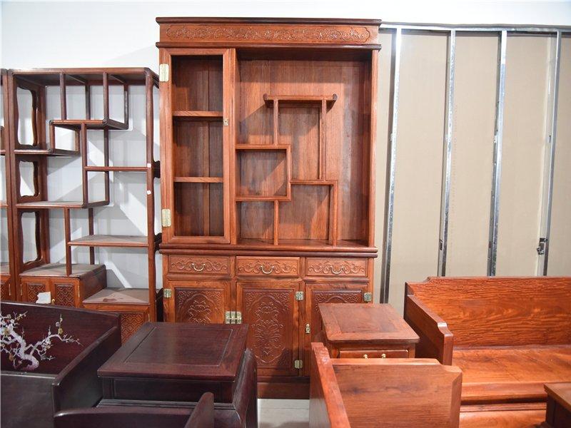 红木家具缅甸花梨书架柜红木古董架大果紫檀书柜实木柜书房家具