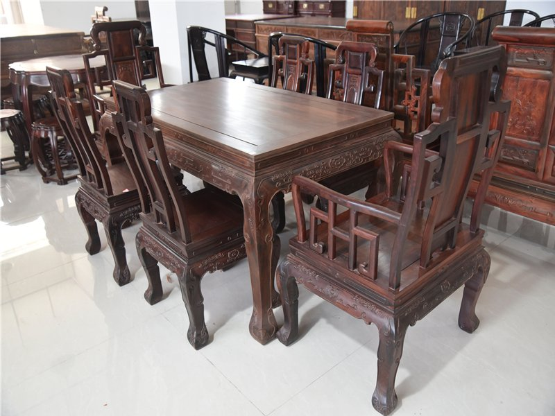 大红酸枝象鼻餐桌七件套红酸枝餐桌红木家具交趾黄檀饭桌