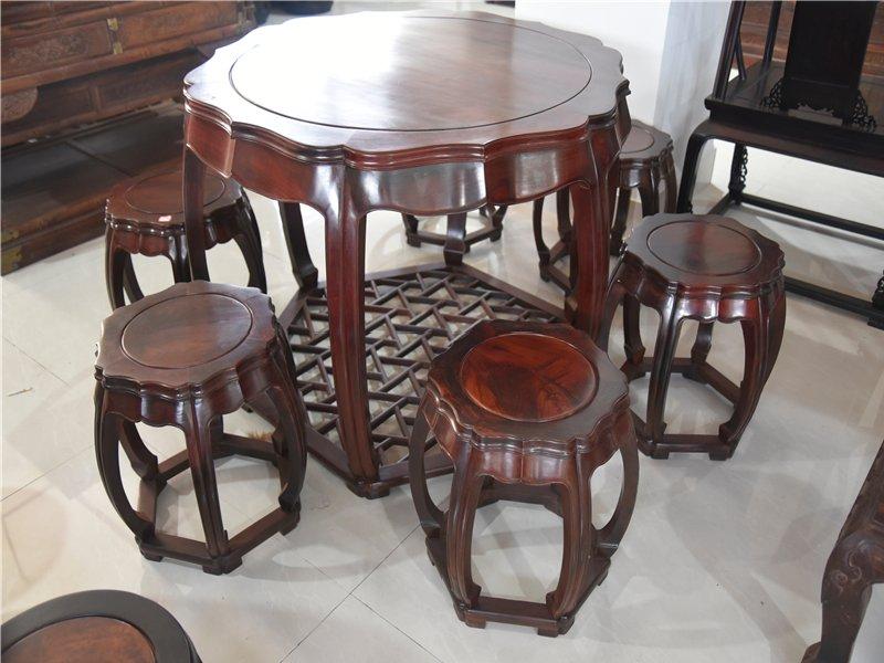 红木家具大红酸枝南瓜休闲桌八件套红酸枝餐桌实木饭桌