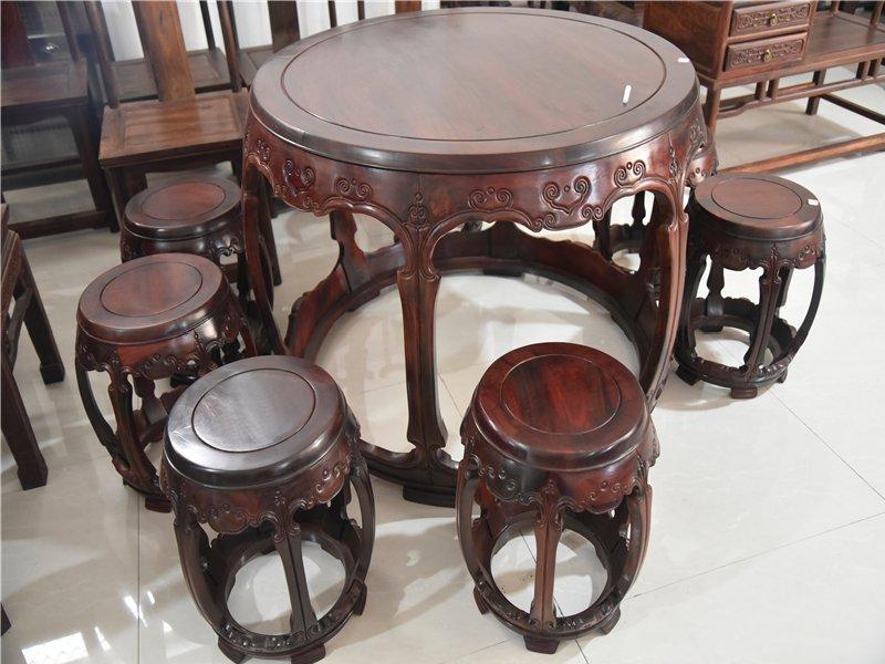 仙作家具大红酸枝圆鼓凳餐桌七件套红酸枝饭桌交趾黄檀红木家具