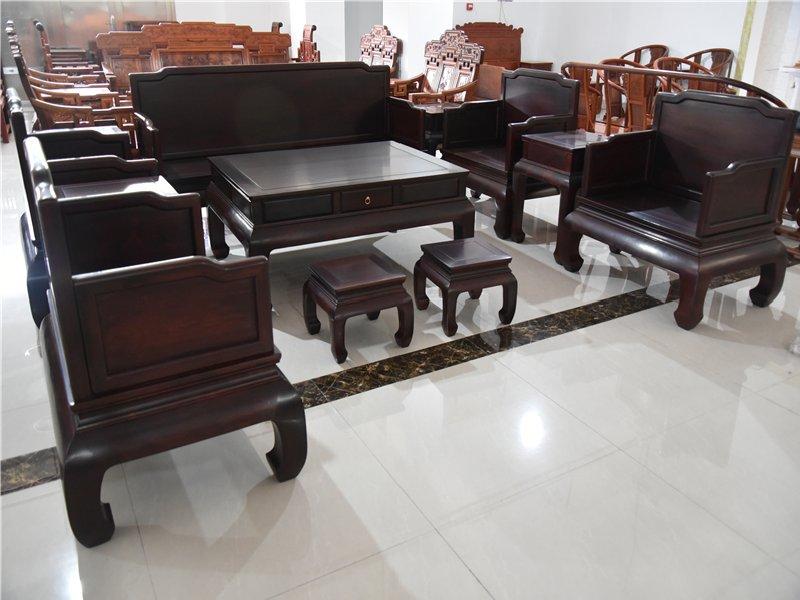大红酸枝素面罗汉沙发十三件套红酸枝客厅沙发组合交趾黄檀