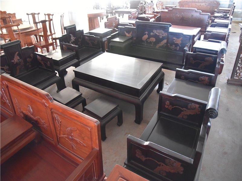 赞比亚血檀松鹤延年卷书沙发十三件套非洲小叶紫檀沙发组合血檀