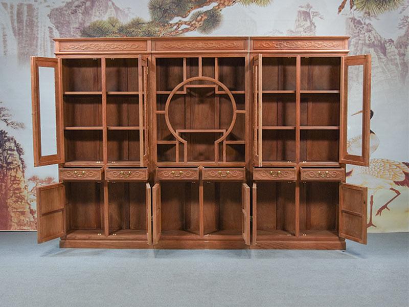 花梨书柜厂家_销量好的花梨雕花鸟三组合书柜推荐给你