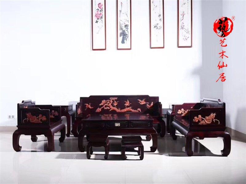 仙作家具贊比亞血檀沙發九件套客廳沙發組合實木沙發紅木家具血檀