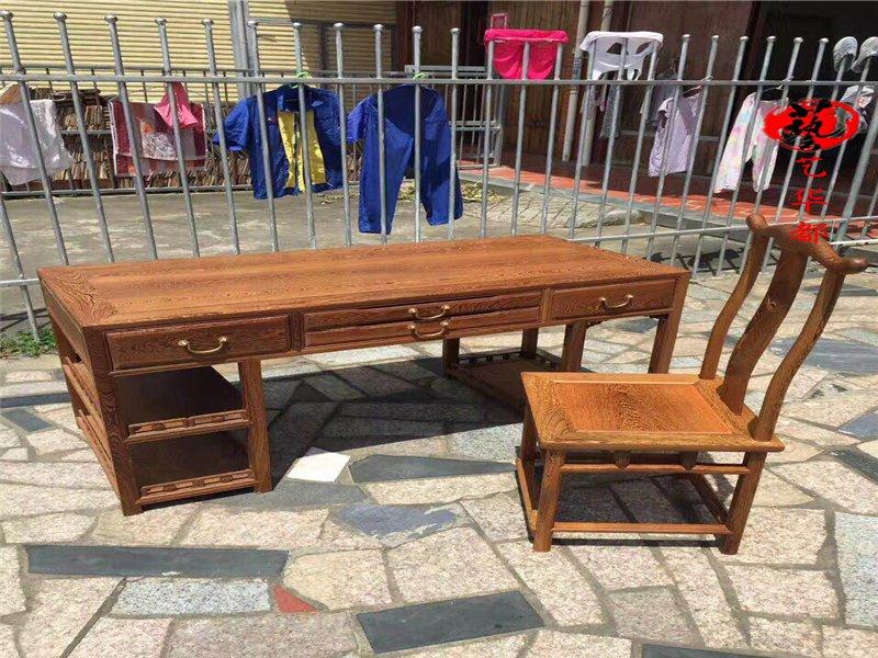 红木家具鸡翅木电脑桌实木书桌台式桌家用办公桌写字桌简约桌子