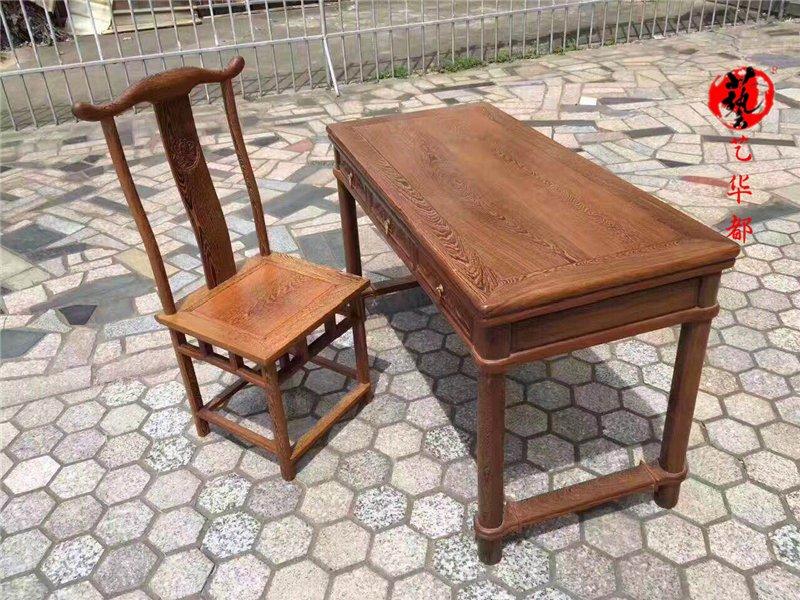 红木家具非洲鸡翅木书桌复古原木仿古中式实木电脑桌小写字台家用