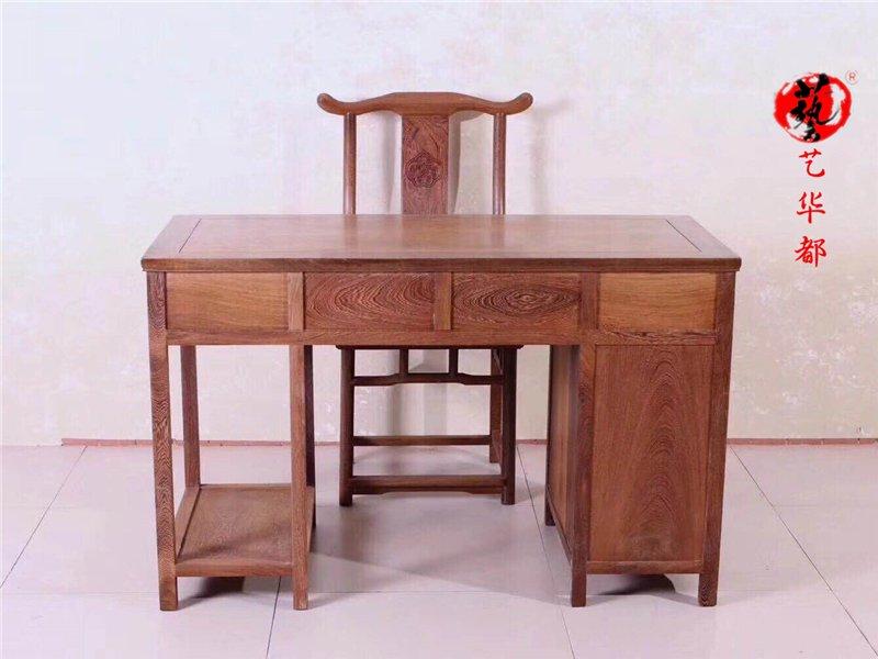 红木家具鸡翅木电脑桌实木书桌台式桌家用办公桌写字桌简约