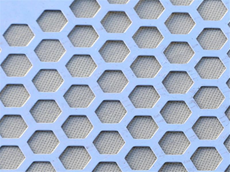 碳钢喷塑六角形装饰穿孔板--安平县万诺丝网