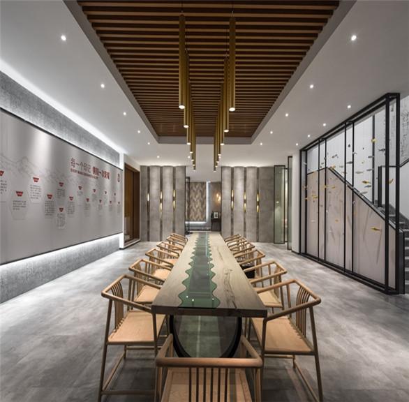 """新中式QD瓷砖""""国风馆""""装修设计 郑州办公室展厅装修公司"""