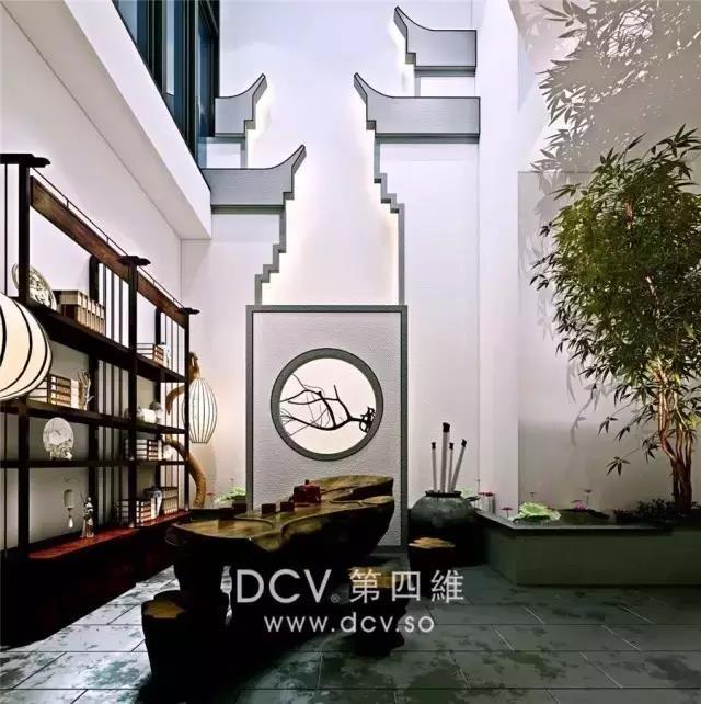 西安-大华公园世家新中式别墅庭院室内装修设计