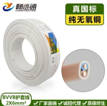 電線電纜 BVVB2*6平方扁芯電源線 家用銅芯硬護套線