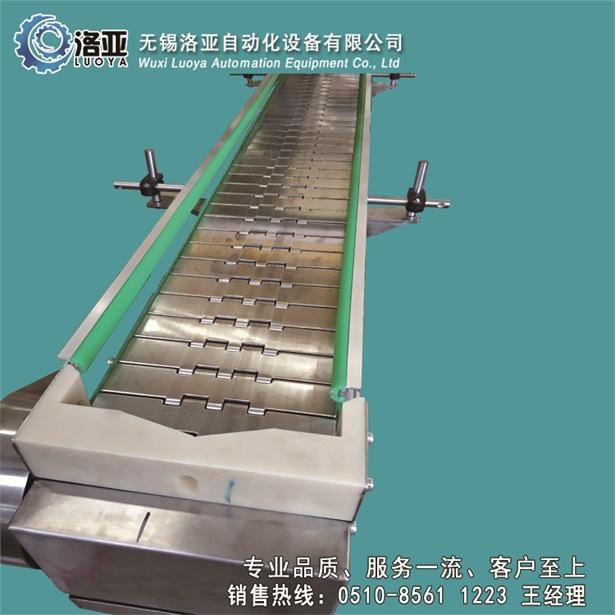 无锡洛亚厂家生产优质金属链板机链板式输送机带护栏绿色垫片挡边