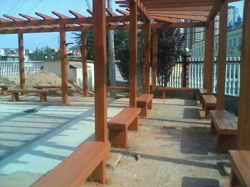 米脂仿木亭子多少钱-陕西榆林仿木廊架供应