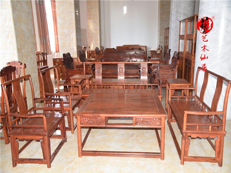 紅木家具123沙發七件套實木花梨木沙發組合非洲黃花梨刺猬紫檀