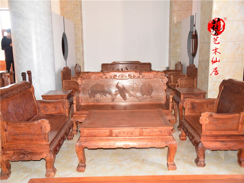 仙作家具如意沙发123六件套客厅沙发组合大果紫檀缅甸花梨木