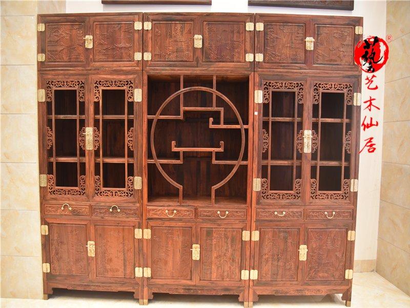 仙作家具大红酸枝加高三组合书柜红酸枝书架柜交趾黄檀红木家具