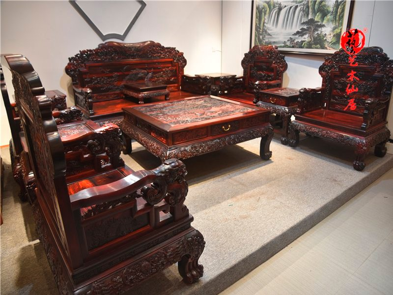 红木家具大红酸枝扶手狮子头沙发十一件套客厅沙发组合交趾黄檀