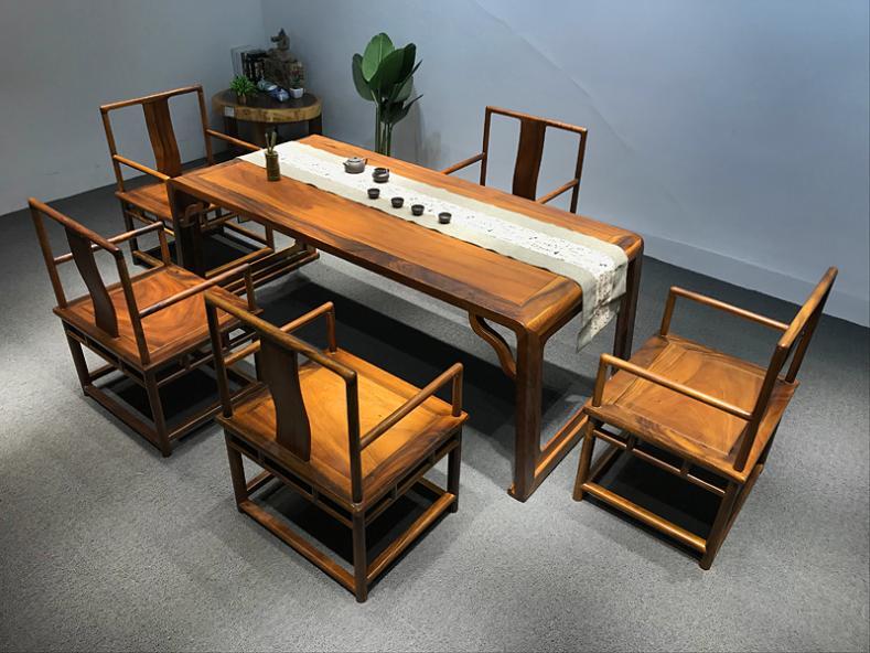原木家用中式胡桃木实木茶桌椅组合