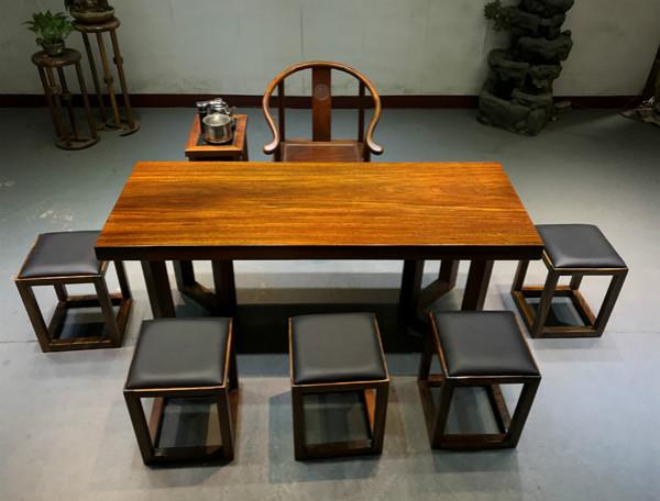 缅甸花梨家具-实惠的奥坎实木茶桌椅组合推荐