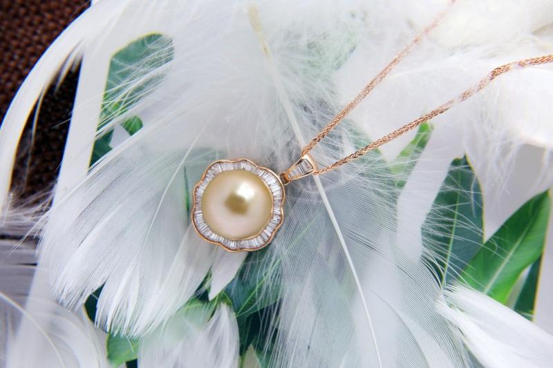 南洋金珍珠定制公司-想要購買金色珍珠項鏈請鎖定金麒福珠寶
