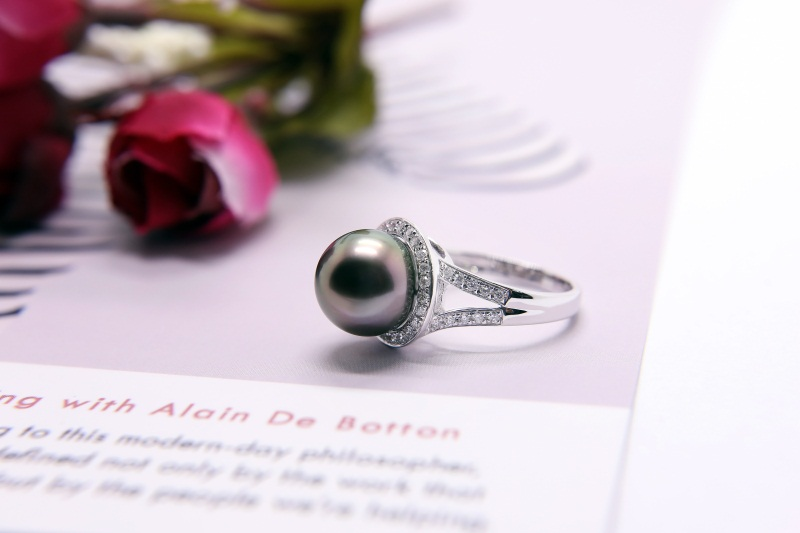大溪地黑珍珠10mm价格_想买黑珍珠戒指就来金麒福珠宝