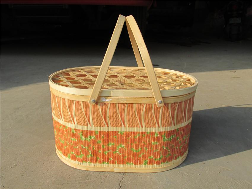 雞蛋籃圖片-山東優惠的橢圓形印花竹籃供應
