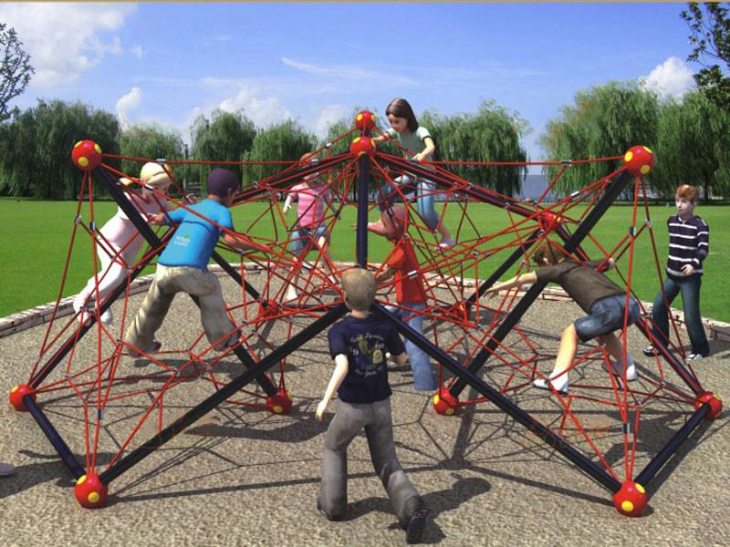 户外儿童攀岩网-小区公园攀爬绳网