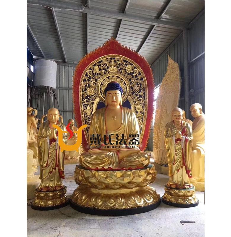 释迦牟尼佛像,纯铜佛像雕塑,一佛二弟子