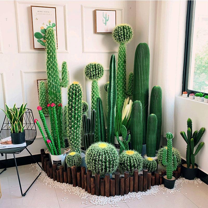 北歐風格ins大型仿真綠植物裝飾仙人掌室內仙人柱盆栽擺件擺設