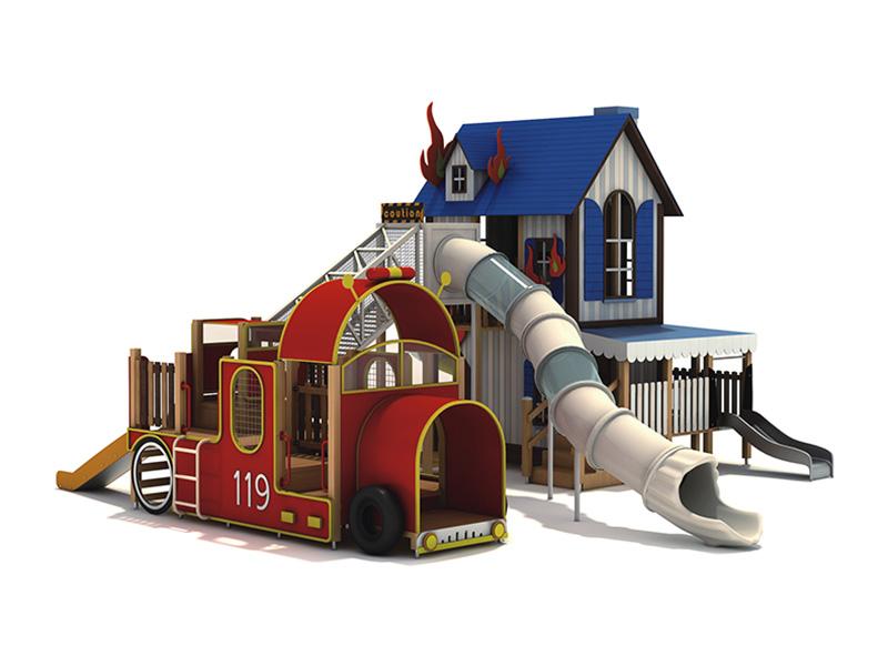 PE木制組合滑梯大型兒童戶外游樂設備