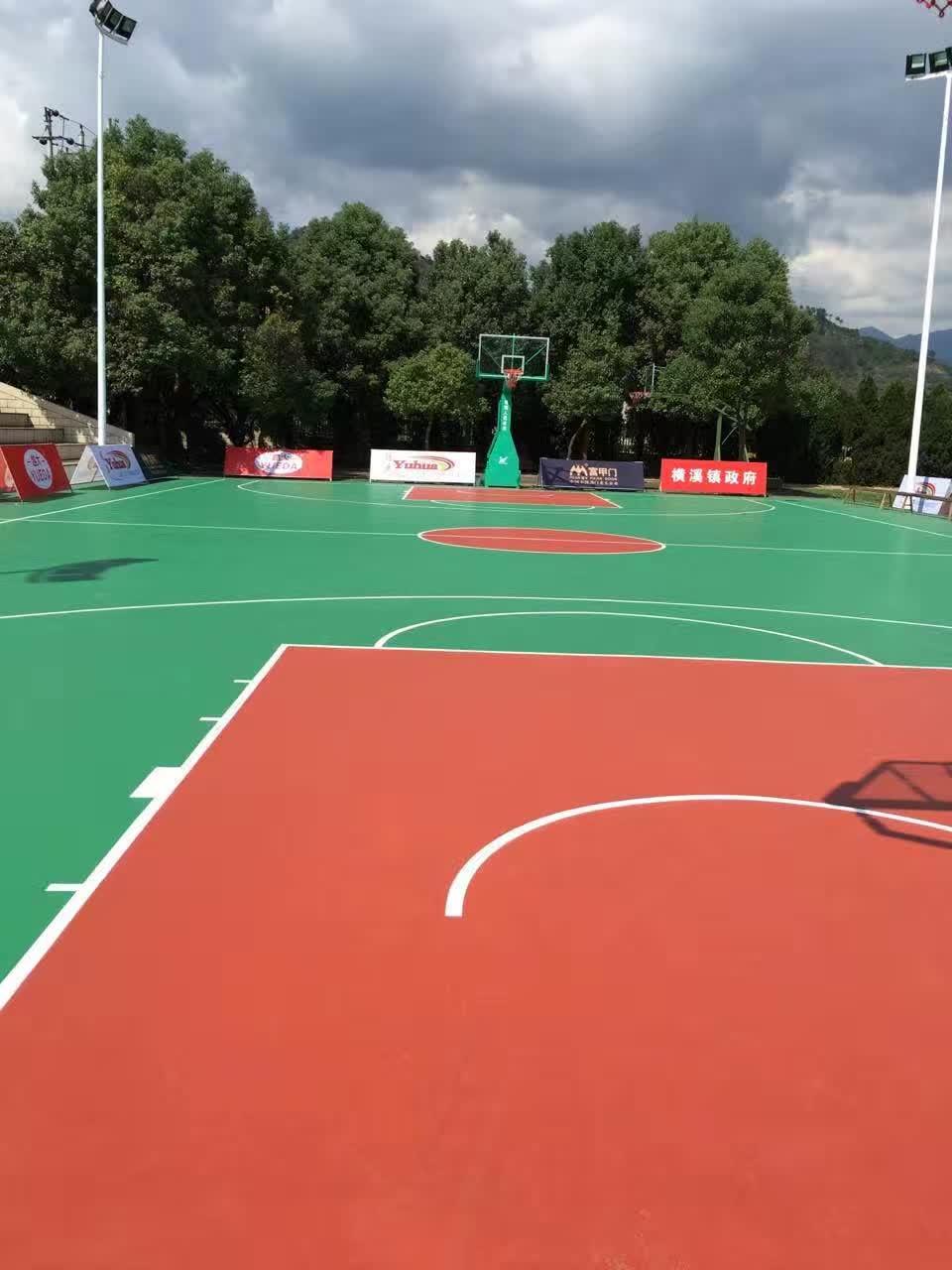杭州篮球塑胶场地-篮球场地坪-蓝球场施工