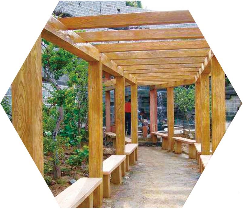 厦门水泥仿木凉亭-大量出售价格划算的仿木廊架
