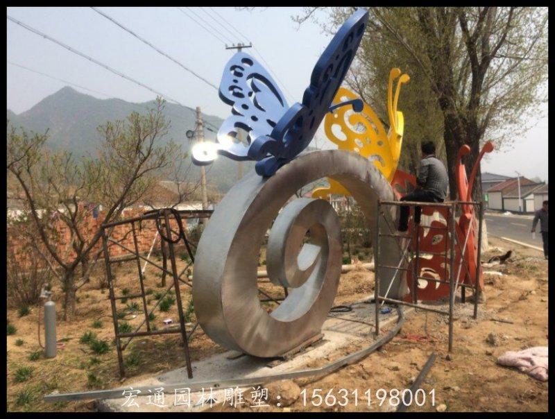 不锈钢蝴蝶雕塑 公园景观雕塑出厂价